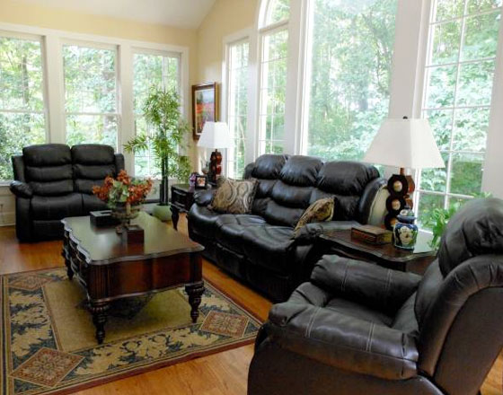 3pc leather seating set (sofa, love-seat, &...