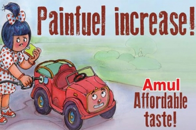 Amul back at it again with a witty tagline for increased petrol prices