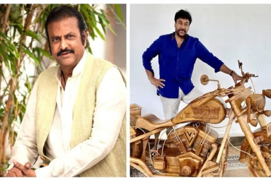 Mohan Babu gifts Chiranjeevi a customized wooden bike on his birthday