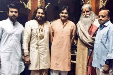 Pawan Kalyan Pays Visit to Sets of 'Sye Raa'