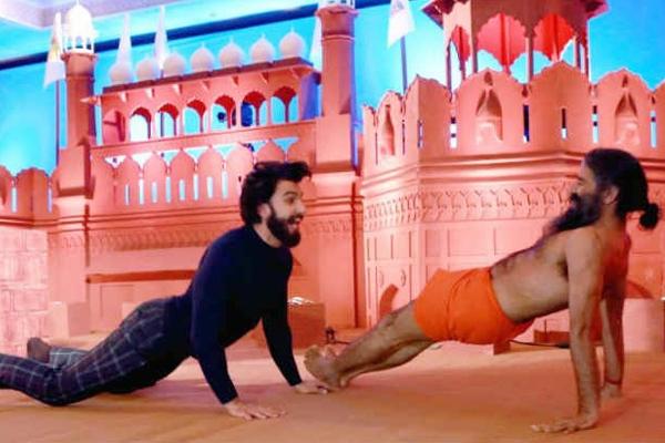Baba Ramdev and Ranveer Singh hot Yoga Dance